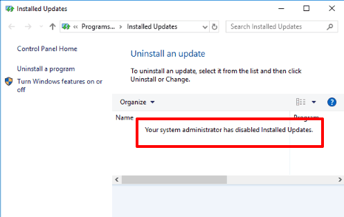 installed updates are not visible in windows 10