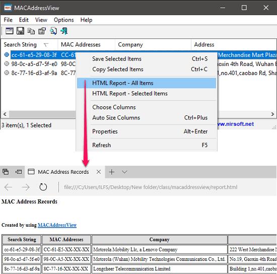 macaddressview export results