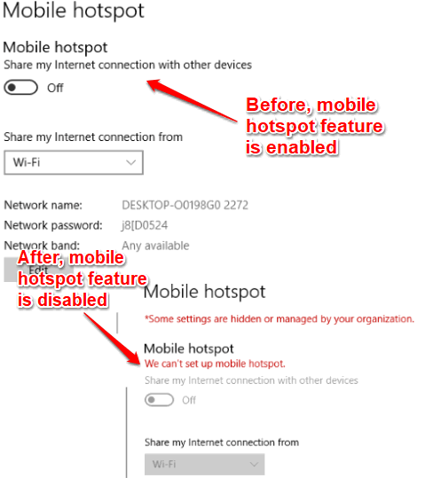 mobile hotspot feature disabled in windows 10