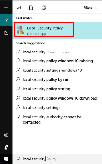 open local security policy window
