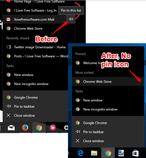 pin icon removed in jump lists in windows 10