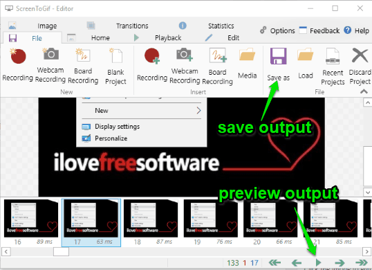 preview and save output
