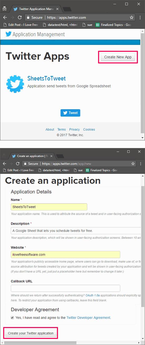 register twitter application