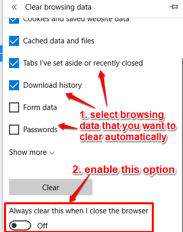 select browsing data and turn on automatic clear option