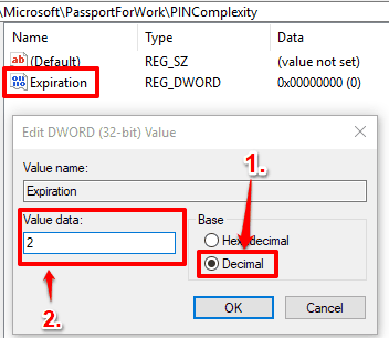 select decimal option and add number in value data box