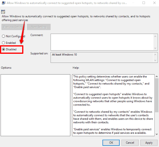 select disabled option and save changes