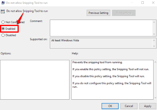 select enabled option and save settings