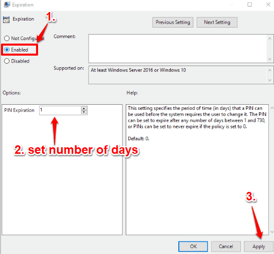 select enabled option and set expiration time