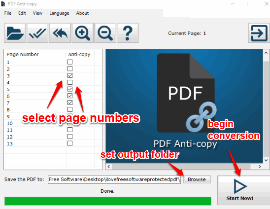 select pdf pages and start conversion