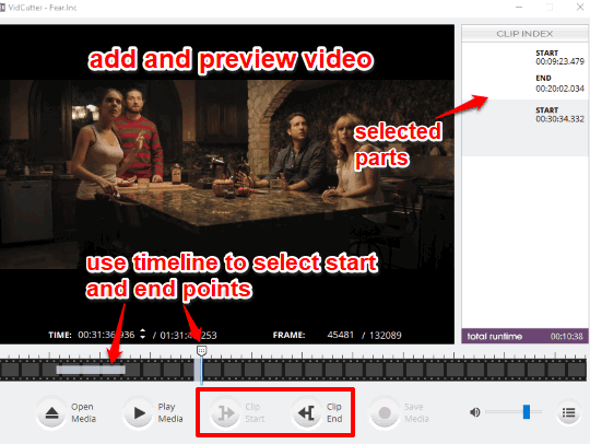 select start and end points for output video files