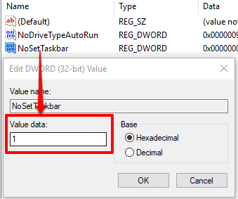set 1 as value data