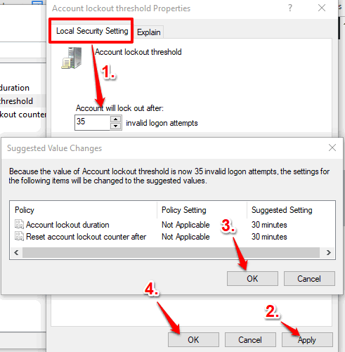 set number of login attempts and save setting