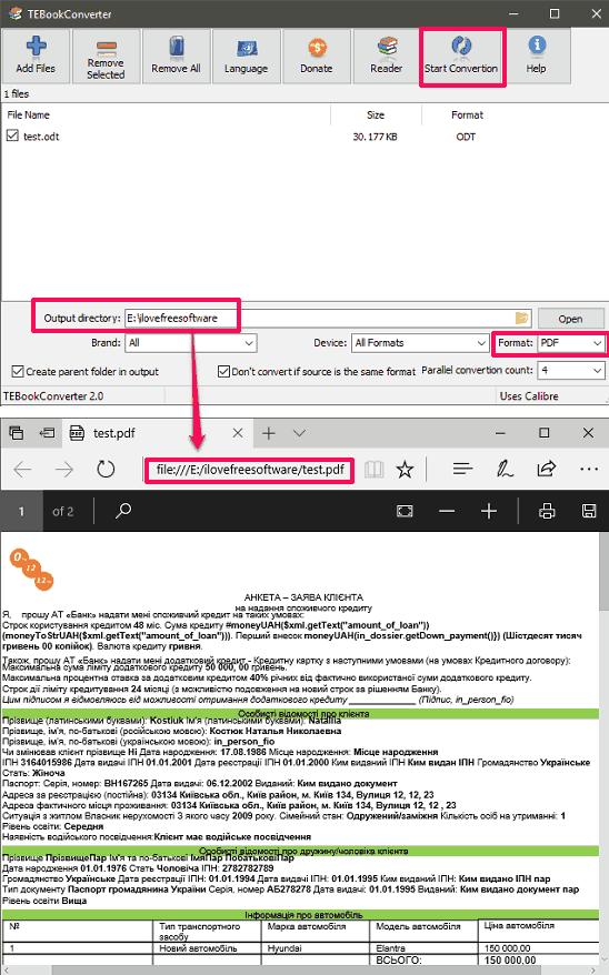tebookconverter odt to pdf