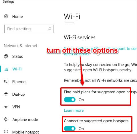 turn off options of wifi sense