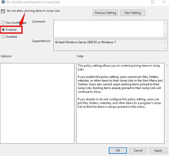 use enabled option
