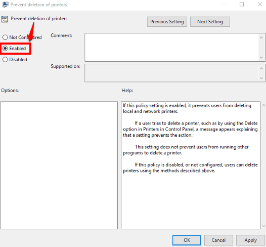 use the enabled option
