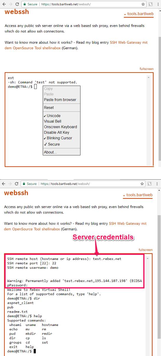 webssh online ssh in action