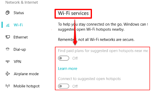 wifi sense or wifi services disabled in windows 10