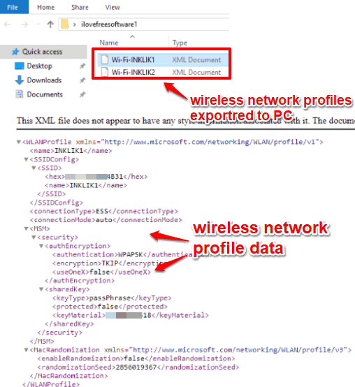 wireless network profiles saved as xml file