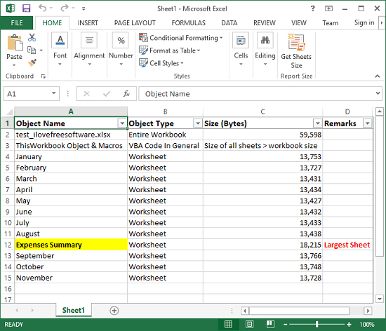 Find Sheet With Largest Size in Excel