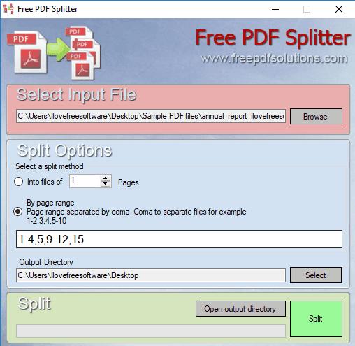 Free PDF Splitter- interface