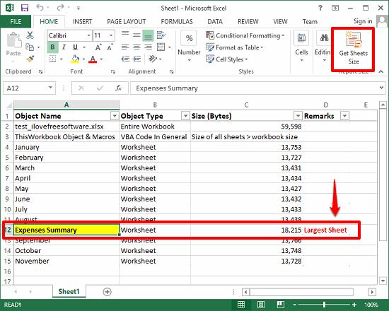 Get sheet size largest sheet