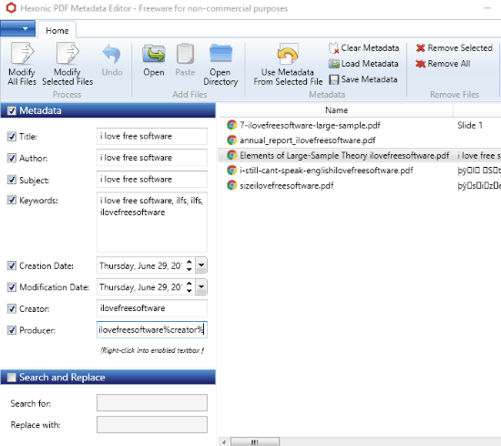 Hexonic PDF Metadata Editor- interface