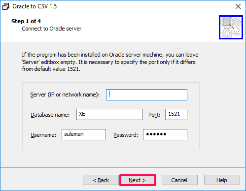 Oracle-to-CSV connect db