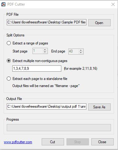 PDF Cutter- interface