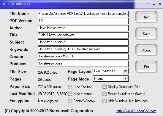 PDF Info- interface