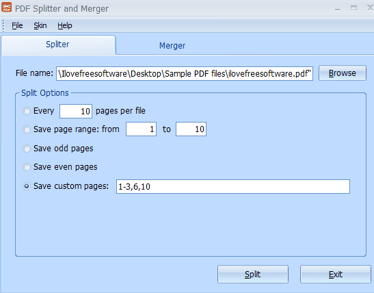 PDF Splitter and Merger- interface
