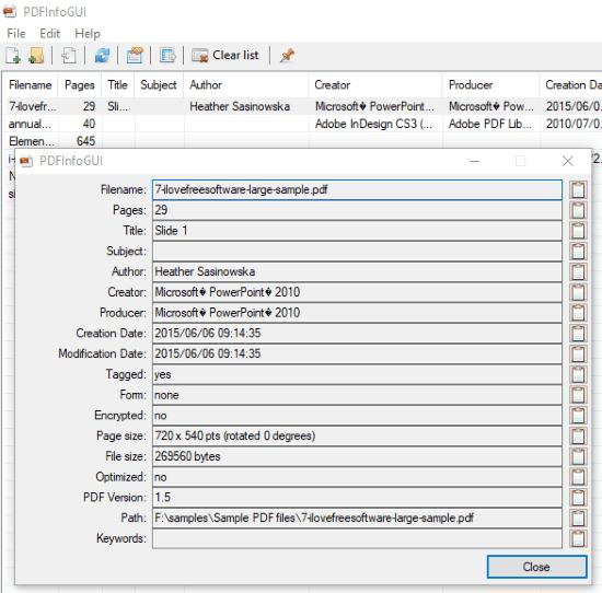 PDFInfoGUI- free pdf metadata viewer software