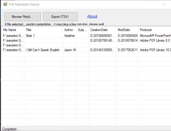 Pdf Metadata Viewer interface