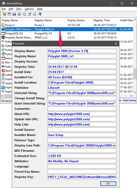 UnistallView program details