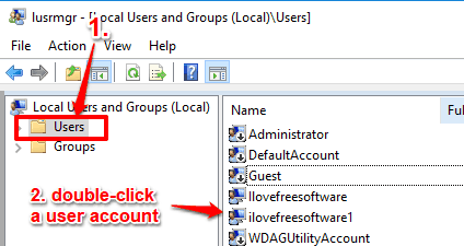 access users folder and double click a user account
