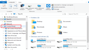 add control panel to file explorer navigation pane in windows 10