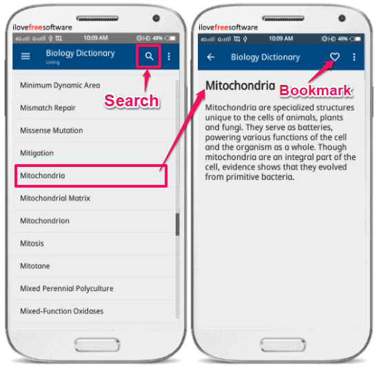biology dictionary offline android app