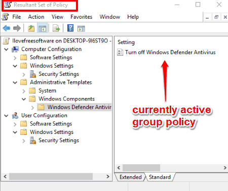 check currently active group policies using resultant set of policy window