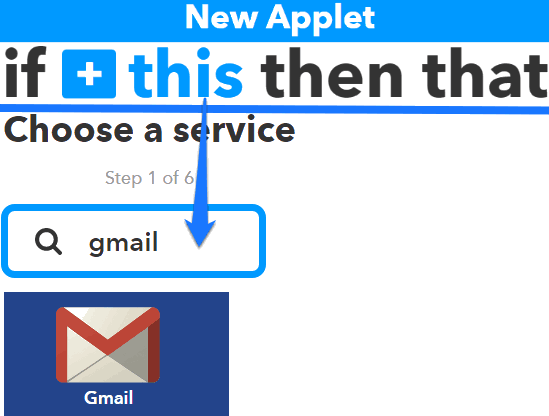 choose gmail as trigger service
