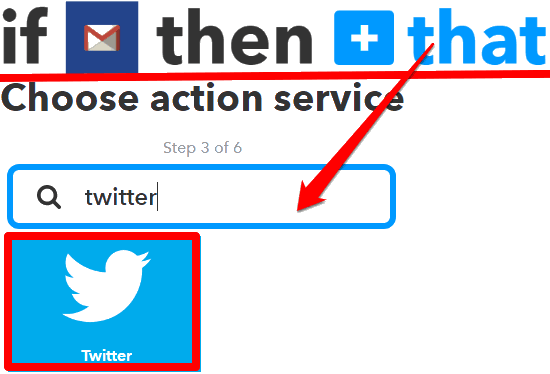 choose twitter as the action service