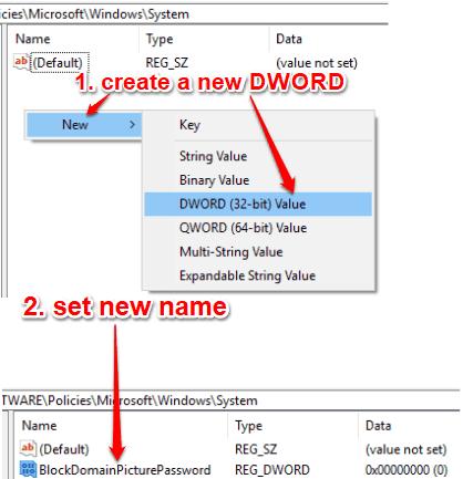 create blockdomainpicturepassword dword value