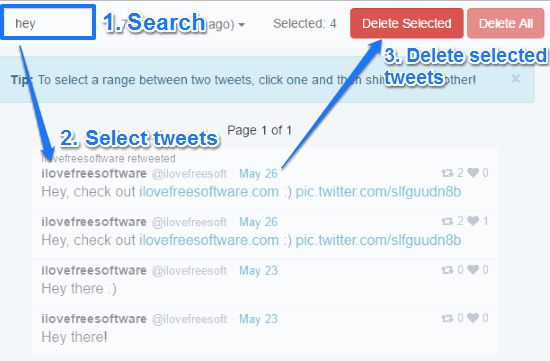how to bulk delete tweets of specific words
