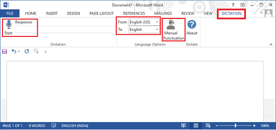 dictate for word interface