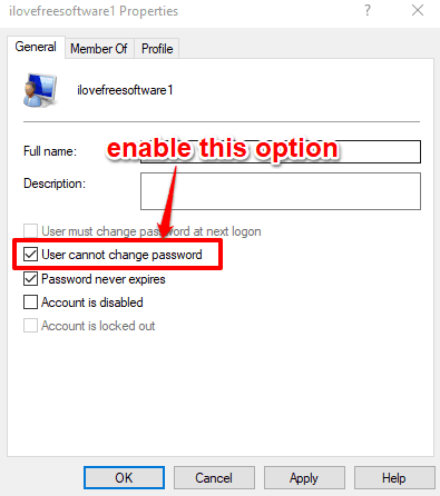 enable user cannot change password option