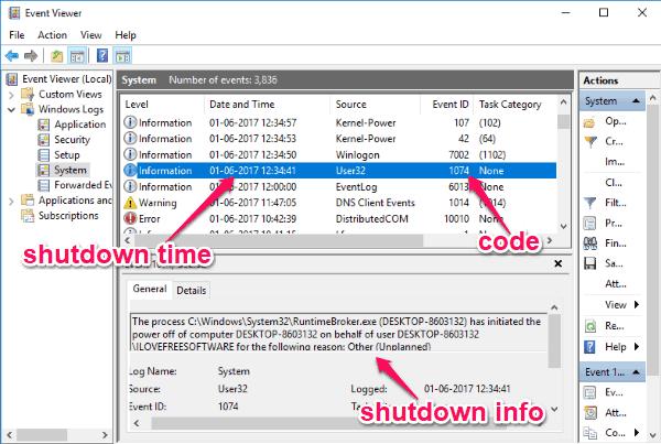Windows Shutdown Log Viewers to See When Was Windows Shutdown