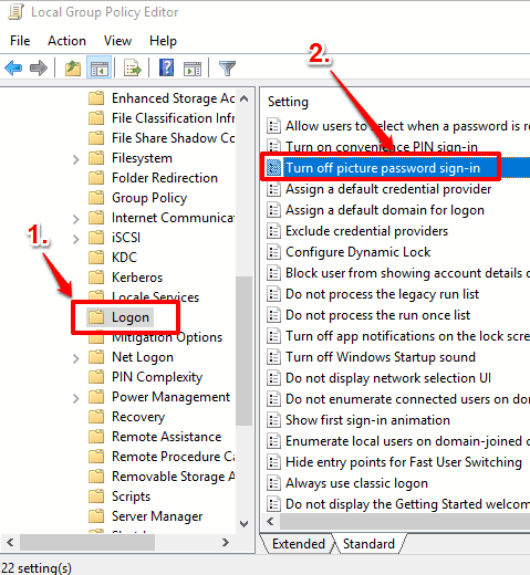 find logon folder and double click turn off picture password sign in option