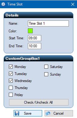 free class schedule maker- add time slot