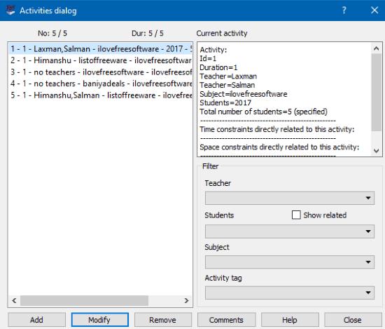 free timetabling software- activities dialog