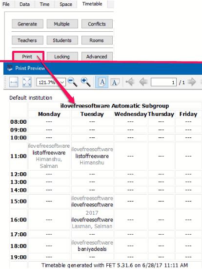 free timetabling software- generate timetable