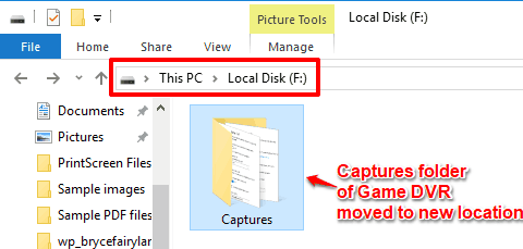 game dvr captures folder moved to new location